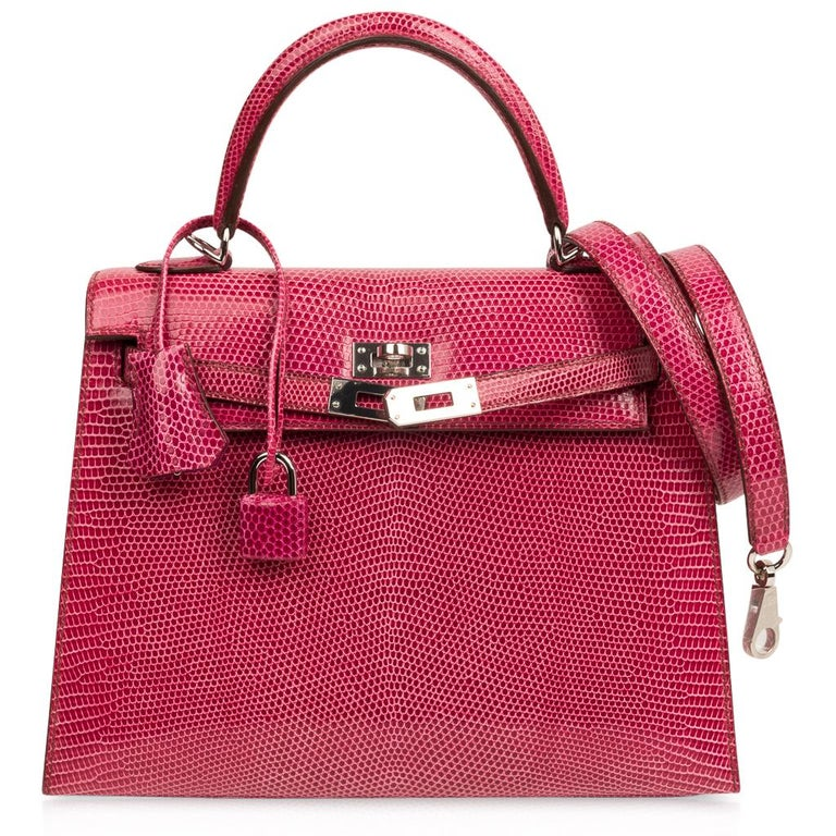 Hermes Kelly 25 Bag Sellier Fuschia Pink Lizard Palladium For Sale 4