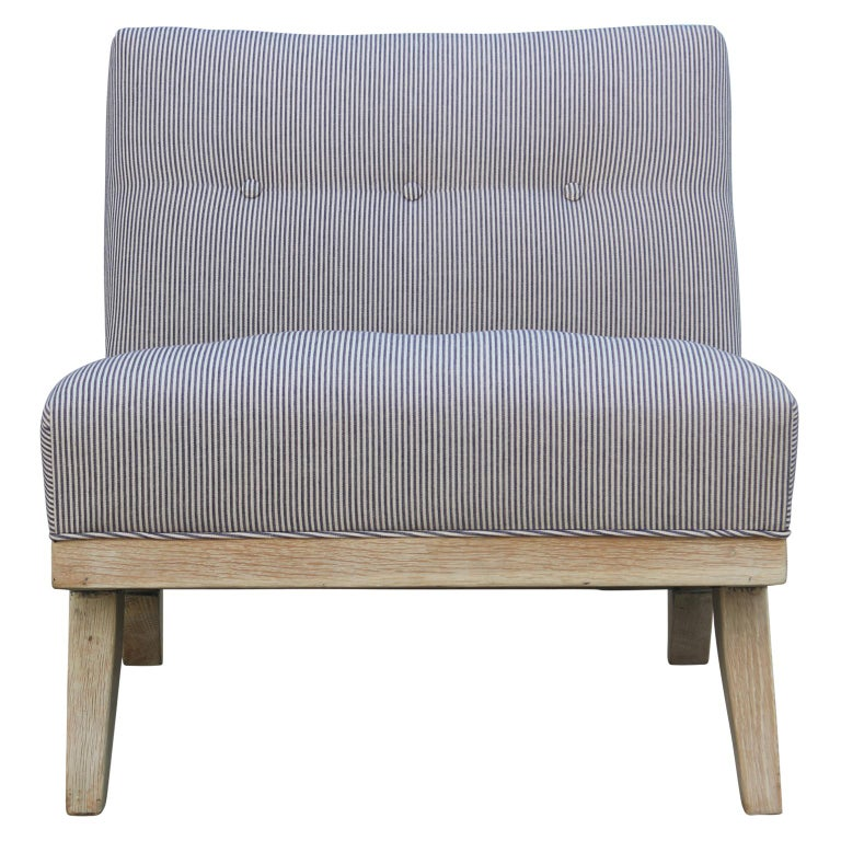 Pair of Modern Blue and White Striped Bleached Tiger Oak Slipper Lounge Chairs For Sale 3