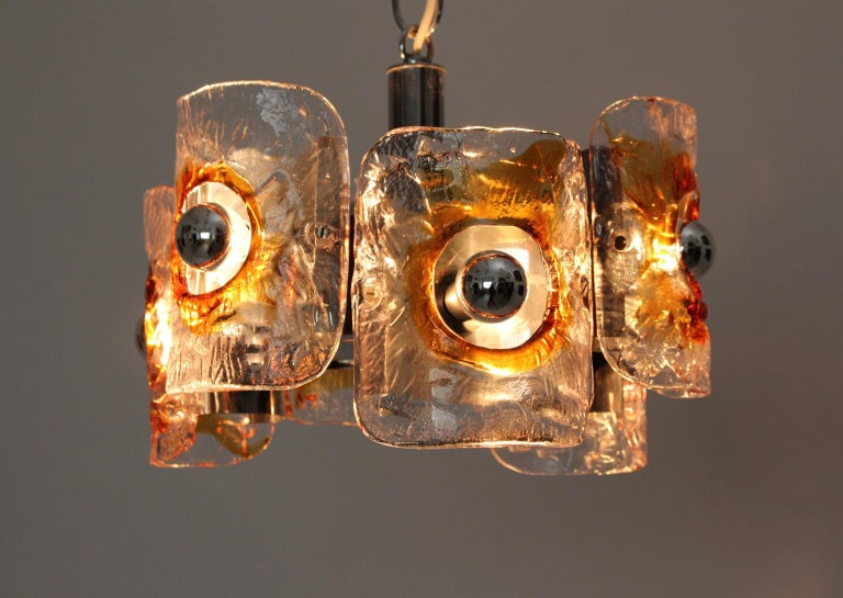 Mid Century Modern Vintage Glass Chandelier Mazzega Chandelier, Italy, 1970 For Sale 3