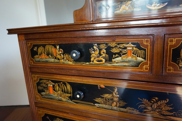 Antique Hand-Painted Mahogany Commode W. Beveled Vanity Mirror Chinoiserie Style For Sale 1