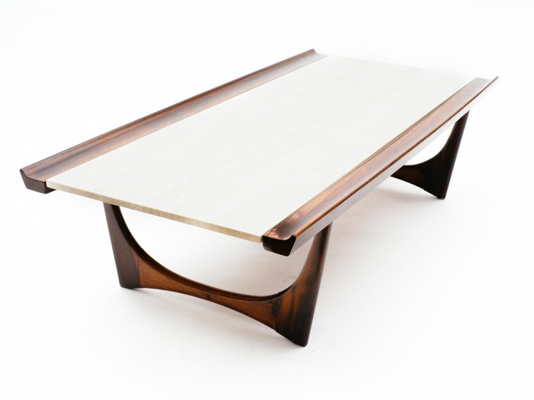 Giuseppe Scapinelli Brazilian Rosewood and Travertine Coffee Table For Sale 2