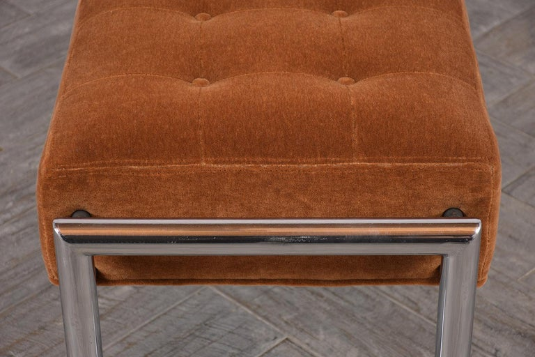 Steel Stylish 1960s Tufted Chrome Bench For Sale