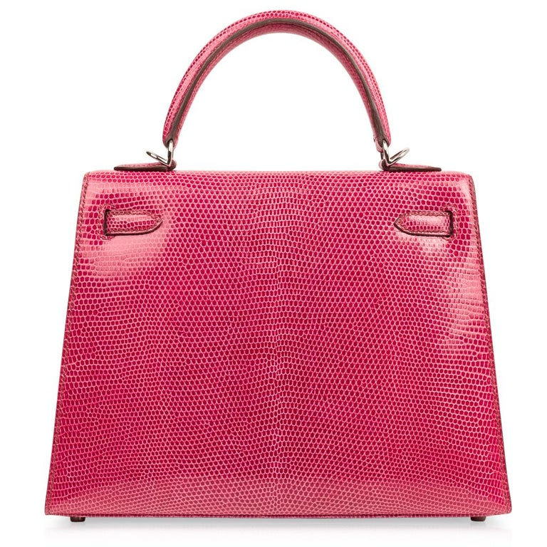 Hermes Kelly 25 Bag Sellier Fuschia Pink Lizard Palladium For Sale 5