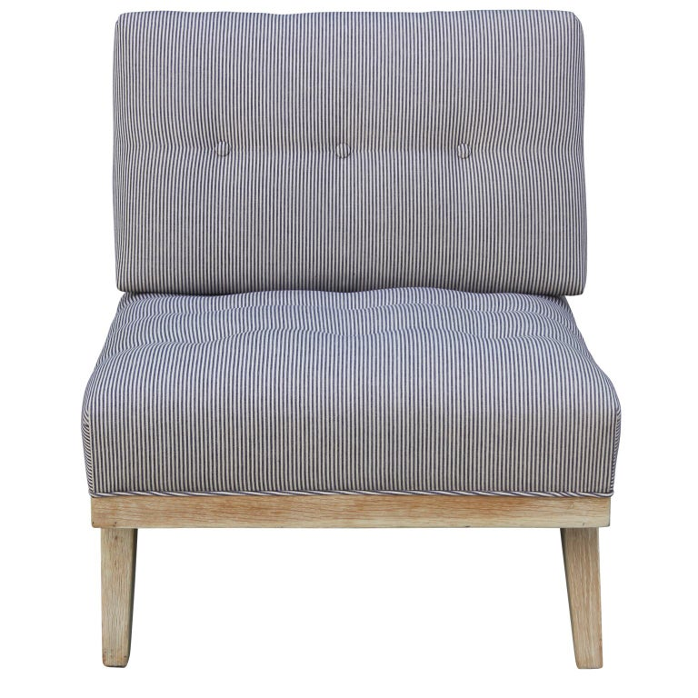 Pair of Modern Blue and White Striped Bleached Tiger Oak Slipper Lounge Chairs For Sale 4