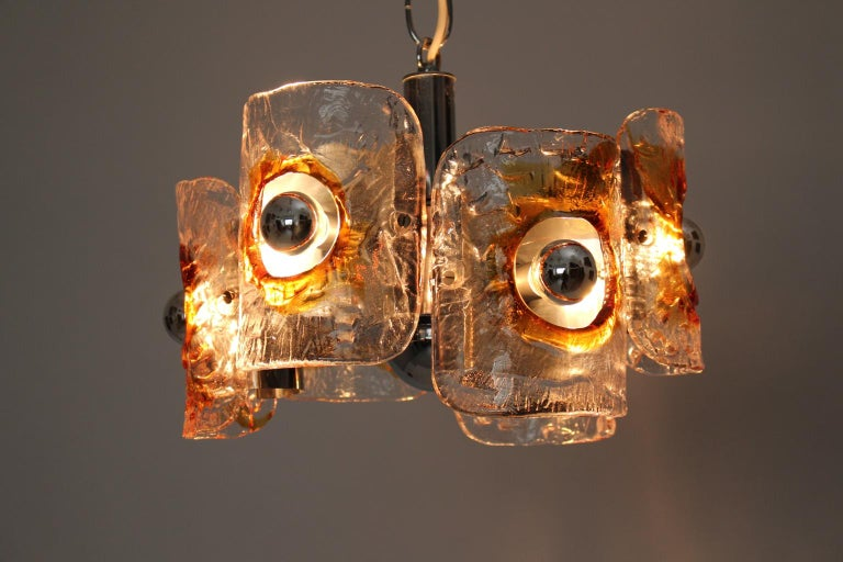 Mid Century Modern Vintage Glass Chandelier Mazzega Chandelier, Italy, 1970 For Sale 4