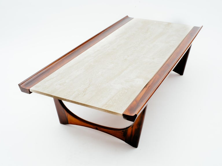Giuseppe Scapinelli Brazilian Rosewood and Travertine Coffee Table For Sale 3