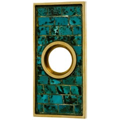 Mexican Hand-Wrought Brass and Stone Door Escutcheon Plate