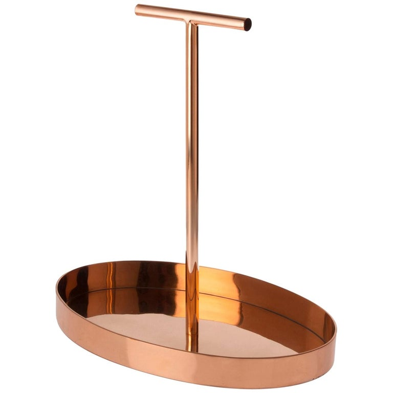 Phil Oval Tray in Copper-Plated Metal with a T-Shape Handle by Bijou Jain For Sale