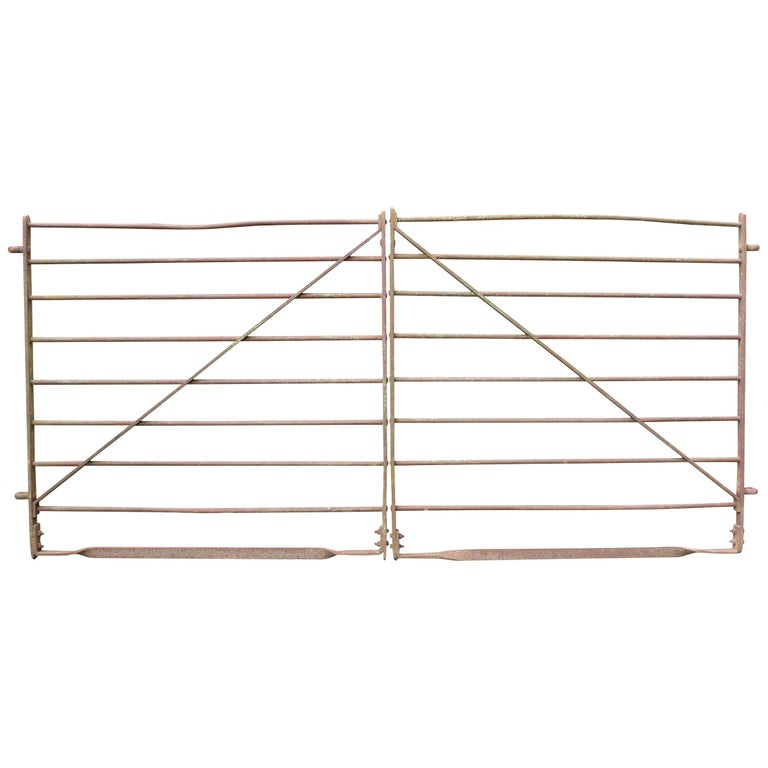 Pair of Early 20th Century Wrought Iron Cattle Gates For Sale