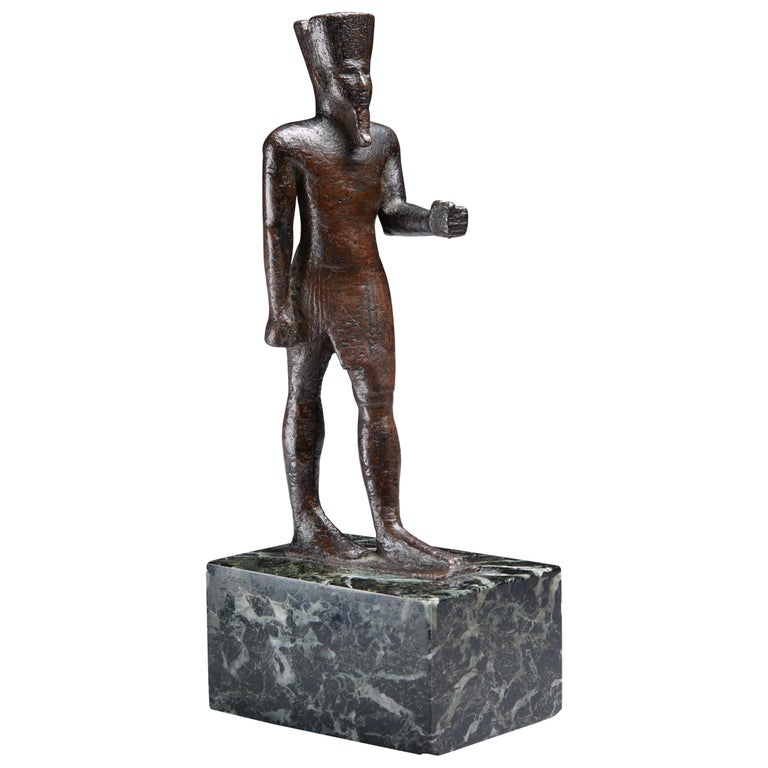Ancient Egyptian Bronze Statue of Amun, 664 BC For Sale