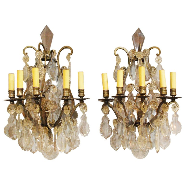 19th Century Pair Of Bronze French Wall Sconces Hung With