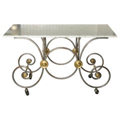 French Style, Marble Top Bakers Table with Brass and Metal Base