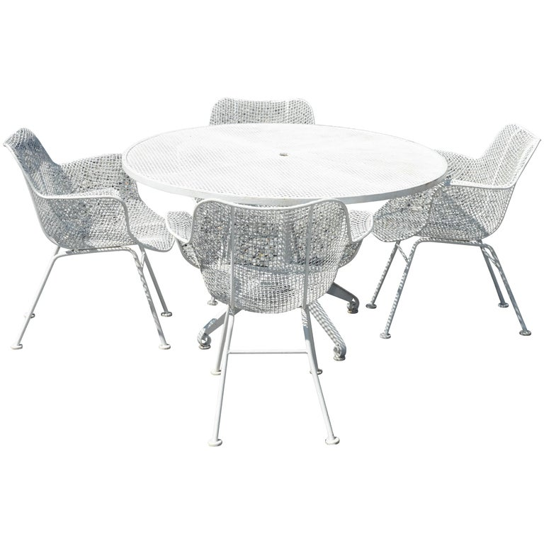 Mid-Century Modern Metal Wire Garden Table with 4 Chairs at ...