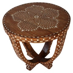 Teak Side or Center Table with Bone Inlay, India