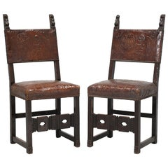 Pair Spanish Tooled Leather Antique Chairs