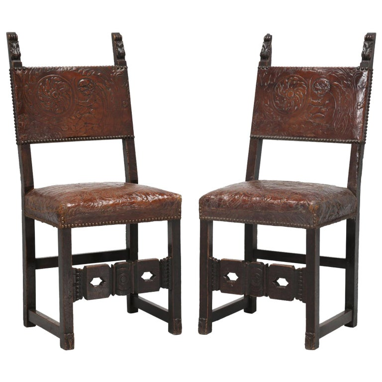 Pair Spanish Tooled Leather Antique Chairs For Sale - Pair Spanish Tooled Leather Antique Chairs For Sale At 1stdibs