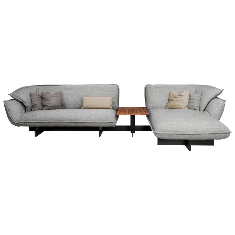 Cassina, Beam Sectional in Warm Grey Fabric with Pillows For Sale