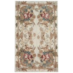 Handmade Floor Rug, Floral Patterned Rug, Aubusson Rugs, Needlepoint Flat-Weave