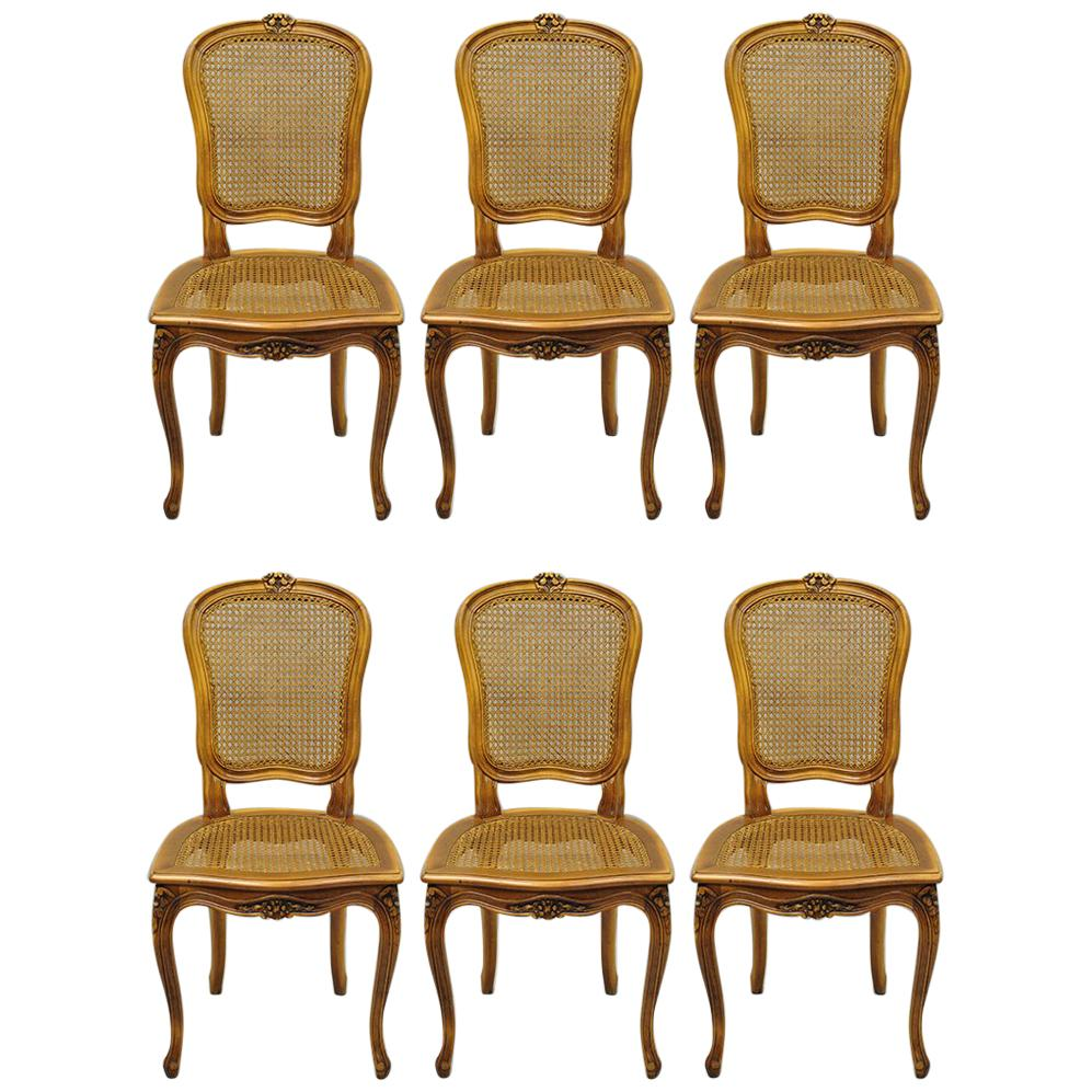 set of six french provincial louis xv style cream painted dining rh 1stdibs com Wood Dining Room Chairs Farmhouse Dining Room Chairs