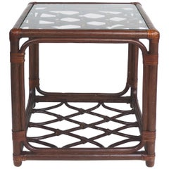 Rattan Side Table, Criss Cross Design, Leather Strapping attributed to McGuire
