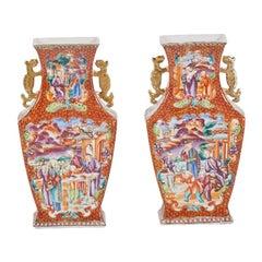 Pair of 18th Century Chinese Export Mandarin Vases
