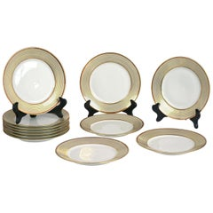 Set of 12 French Limoges Gilded Dinner Plates