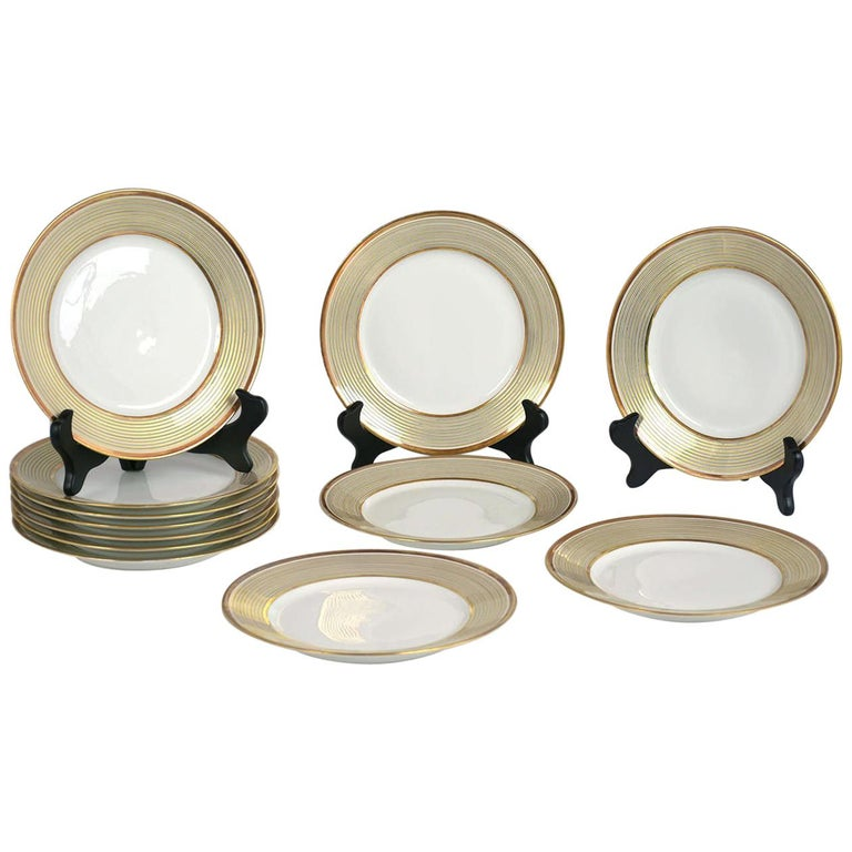 Set Of 12 French Limoges Gilded Dinner Plates For Sale At 1stdibs