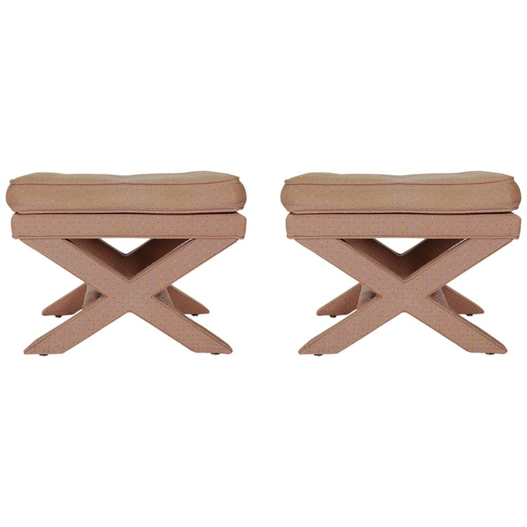 Mid-Century Modern Hollywood Regency X Benches or Stools after Billy Baldwin For Sale