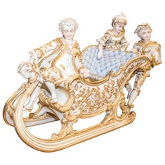 19th Century Polychrome Porcelain Central European Baroque Sleigh