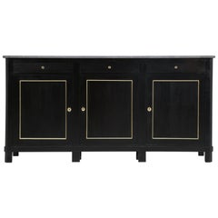 Antique French Buffet, Ebonized with Brass Trim