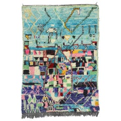 Contemporary Abstract Moroccan Rug with Post-Modern Memphis Group Design
