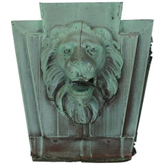 Antique American Lion Architectural Copper Wall Plaque, Two Available