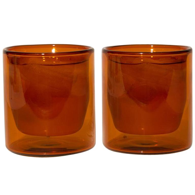 Double-Wall 6oz Glasses, Set of Two, Amber For Sale