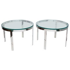 Pair of Milo Baughman Chrome and Glass Side Tables