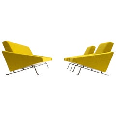 Rare Triangel Sofa and two Lounge Chairs by Gelderland, circa 1958 De Ploeg Wool