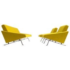Rare Triangel Sofa and two Lounge Chairs by Gelderland, circa 1958 De Ploeg Wool