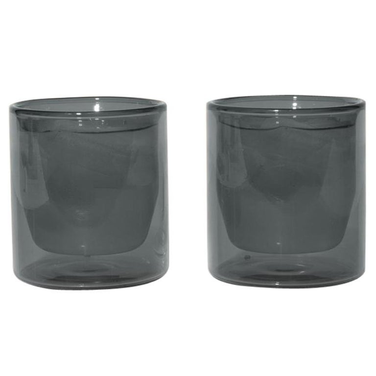 Double-Wall 6oz Glasses, Set of Two, Gray For Sale