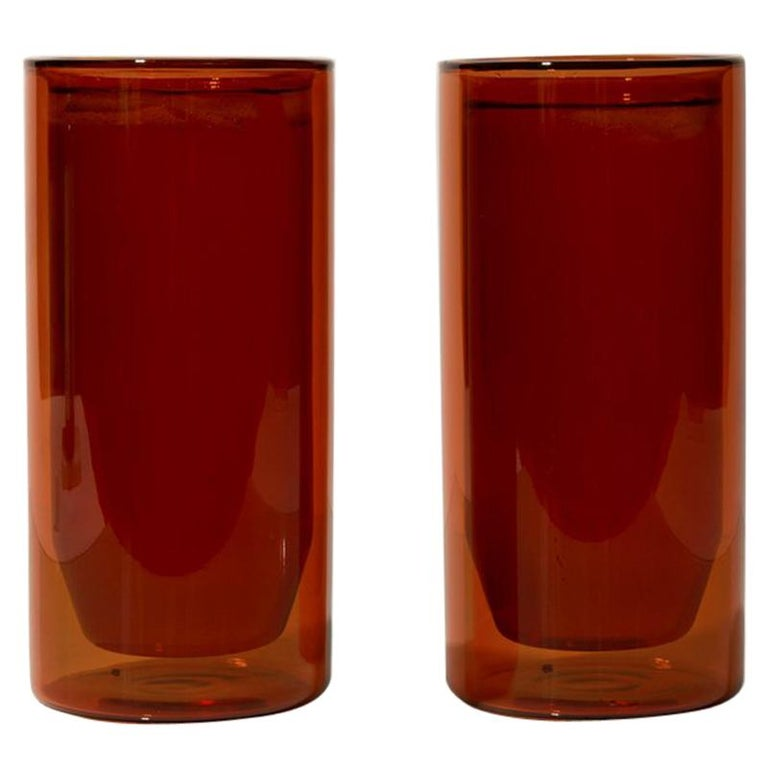Double-Wall 16oz Glasses, Set of Two, Amber For Sale