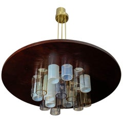 Unique Wood and Glass Chandelier by Esperia