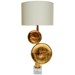 Pair of Hammered Brass and Murano Glass Table Lamps