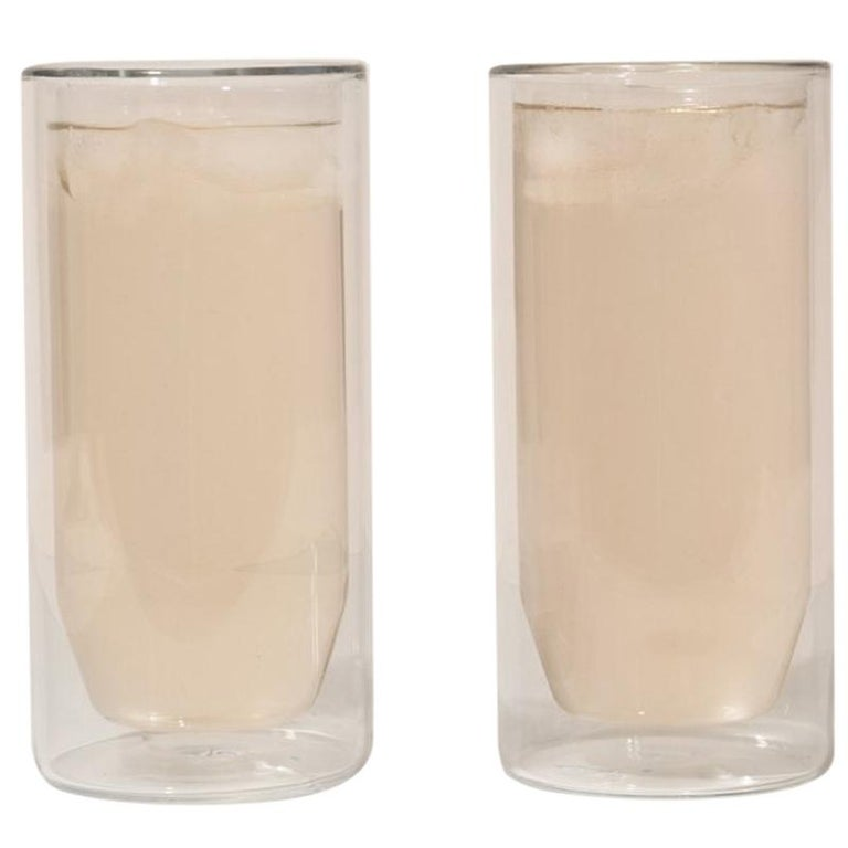 Double-Wall 16oz Glasses, Set of Two, Clear For Sale