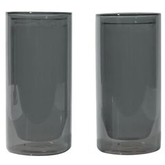 Double-Wall 16oz Glasses, Set of Two, Gray