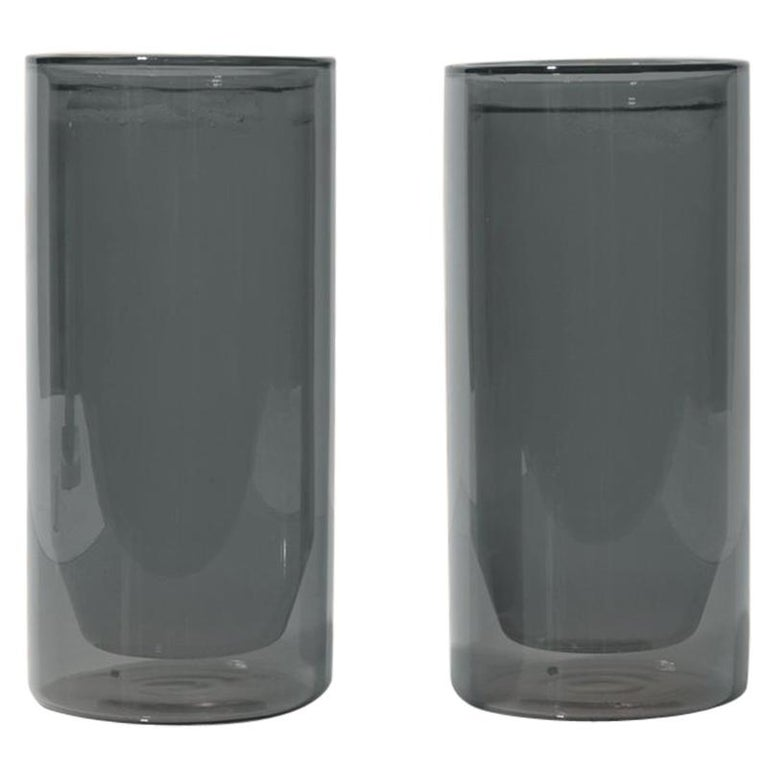 Double-Wall 16oz Glasses, Set of Two, Gray For Sale