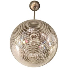 Venini Murano Glass Chrome Plated Brass Chandelier a Light, 1940