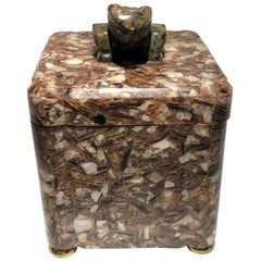 Stone Composite Box with Brass Feet and Carved Green Marble Frog Cap