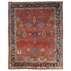 Antique North West Persian Carpet, Handmade Rust Red, Navy, Wool, Allover Design