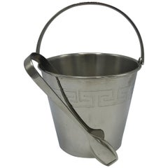 1970s Chrome Ice Bucket and Tongs with Greek Key Motif