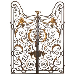 Pair of Early 18th Century Forged and Lacquered Iron Gates from Provence France