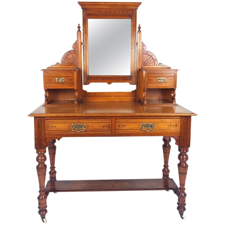 Victorian Satin Walnut Dressing Table For Sale At 1stdibs