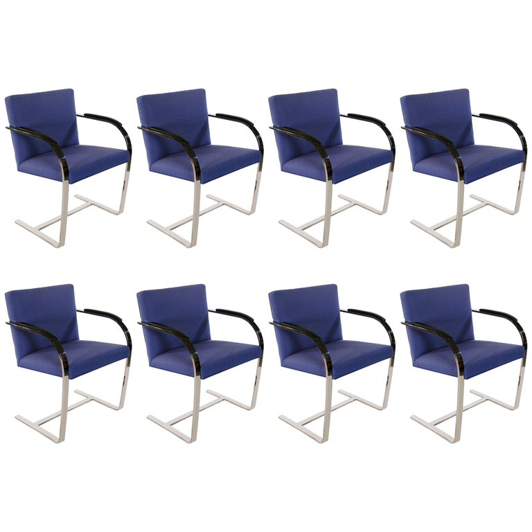 Set of Eight Mid-Century Modern Flat Bar Brno Armchair Dining Chairs for Knoll For Sale
